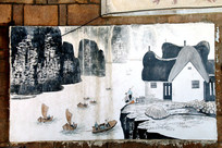 古典黑白墙绘图片