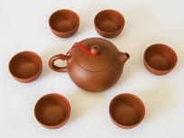 红泥紫沙西施茶壶与茶杯