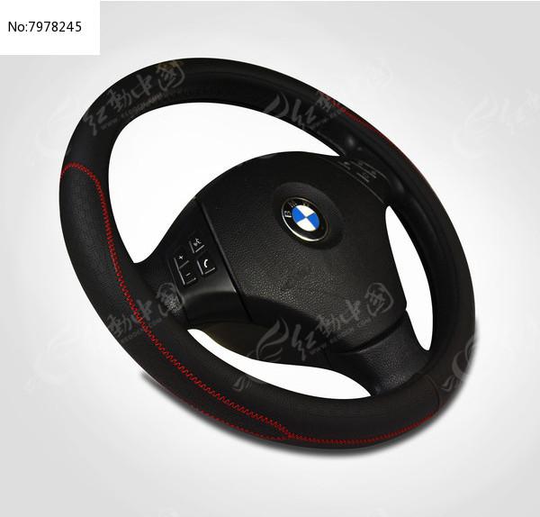 黑色超纤方向盘套图片