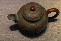 锡镶紫砂茶壶图片