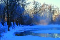 冰河森林雾凇曙光