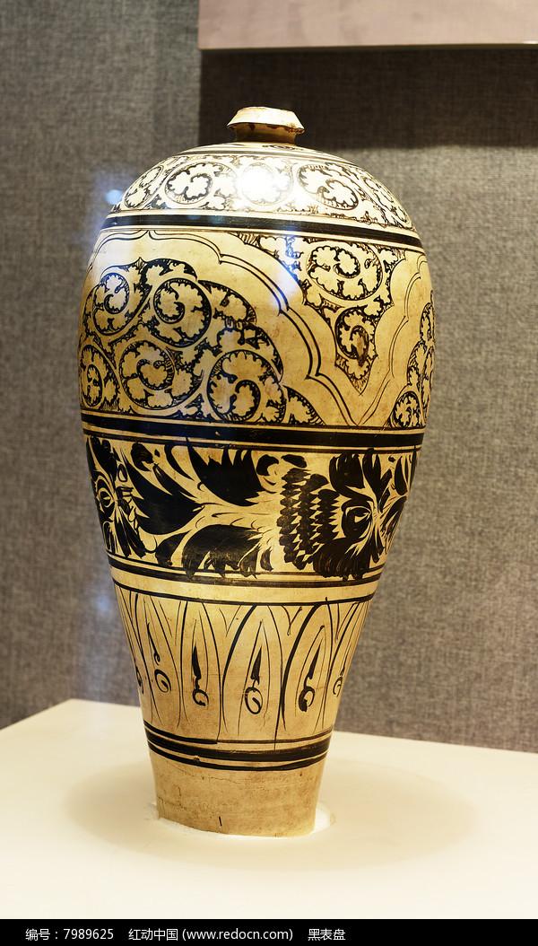 磁州窑白釉黑花瓷梅瓶图片