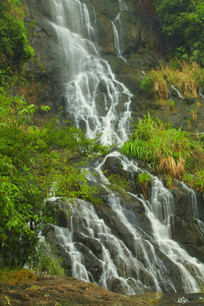 高山林中瀑布