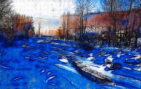 冬天风景装饰画