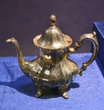 奥地利银器瓜棱形茶壶