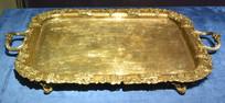 奥地利银器刻花纹饰方形托盘