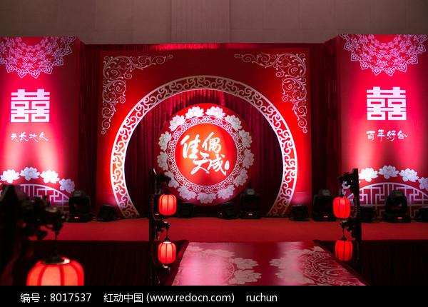 红色喜庆婚礼舞台背景图片