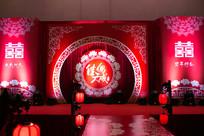 红色喜庆婚礼舞台背景