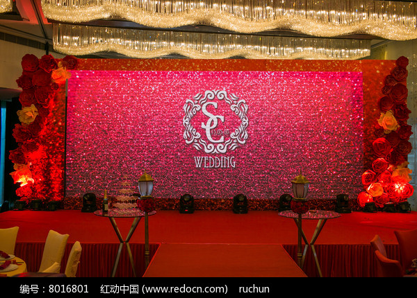 新婚红色舞台背景图片