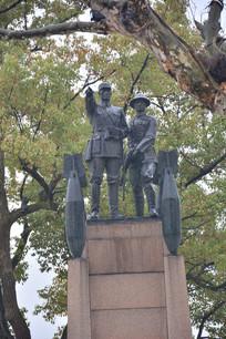 雕像抗战指战员