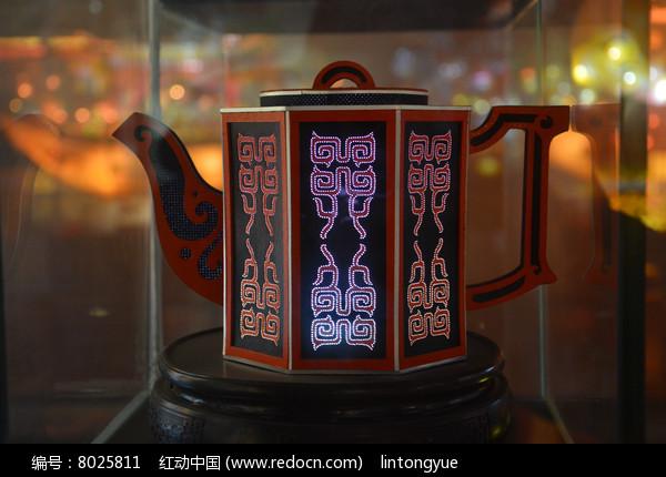 六面文字茶壶彩灯模型图片