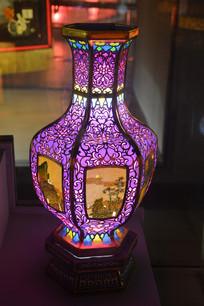 山水人物花瓶彩灯模型
