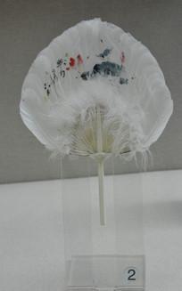 塑料柄白鹅羽毛画团扇