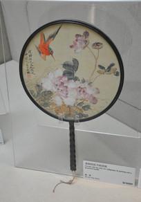 文物漆柄绢面书画团扇