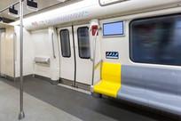 灰黄相间的地铁座椅