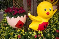 泡沫鸡和蛋壳花圃