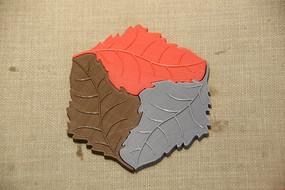 树叶形拼贴垫子