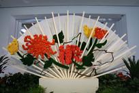纸艺花卉折扇