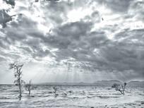 滇池岸边耶稣光黑白照