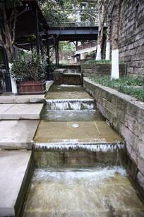 园林一角的流水