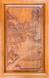 山水田园图案木雕