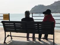 老年伴侣观海景