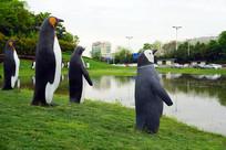 路缘花境花园池塘企鹅雕塑