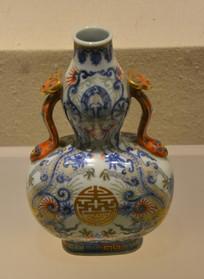 文物景德镇窑五彩葫芦双喜纹瓷瓶