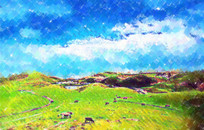 草原水彩画
