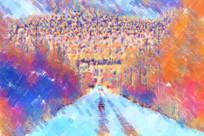 电脑画《山林雪路》