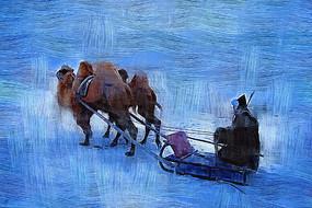 电脑油画《乘坐骆驼爬犁的蒙古人》
