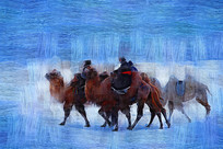 电脑油画《骑骆驼的蒙古人》