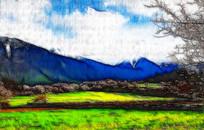 高原草地风景画