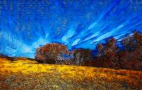 高原秋色风景画