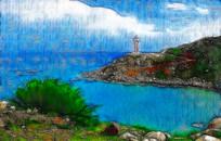海岸山水风景画