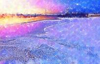 海边水彩风景画