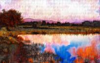 湖泊风景装饰画