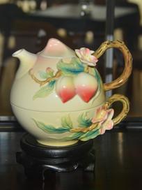 收藏品福寿双全茶壶