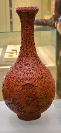 文物雕漆三国演义人物大瓶