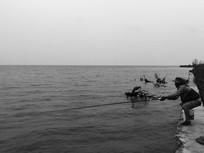 滇池边海钓