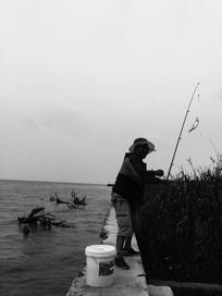 滇池边海钓起鱼