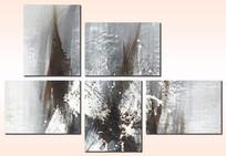 五联抽象画 现代无框组合画