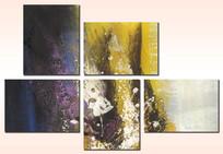 五联组合画 酒店抽象油画 五联抽象画