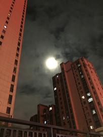 小区夜晚的月亮美图