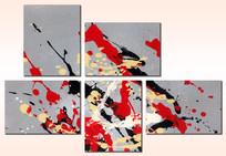 艺术组合五联抽象油画