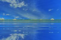 电脑抽象画《蓝湖》