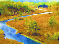电脑水彩画《河湾秋色》