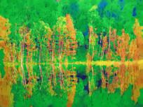 电脑水彩画《湖畔彩树》