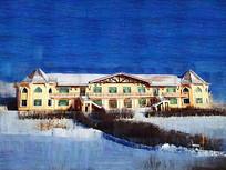 电脑油画《雪原别墅》
