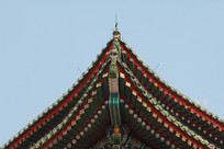 彩色金漆中式卯榫屋檐角